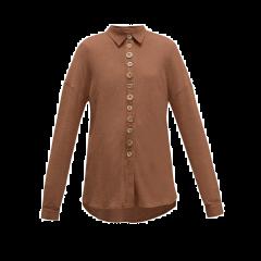 Oversized Cotton Blend Shirt Brown
