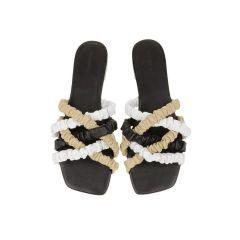 Theresa Scrunchie Sandal - Black / Cream / Beige