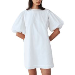 GATHERED SLEEVE MINI DRESS WHITE