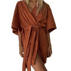 Terry Beach Robe Rust