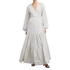 TIERED WRAP DRESS, WHITE