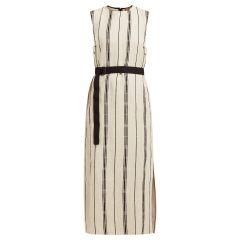 Stripe Sleeveless Safi Dress with contrast belt